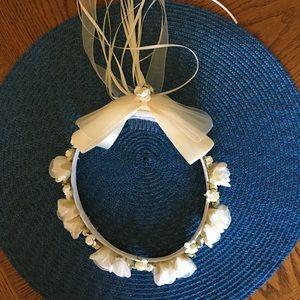 Ivory Flower Girl Halo Headpiece